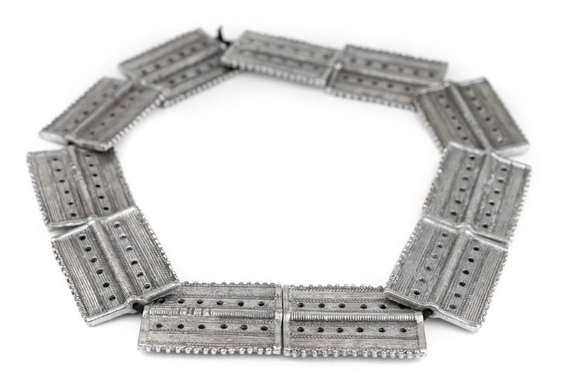 Silver Rectangular Dotted Baule Beads (54x41mm) - The Bead Chest