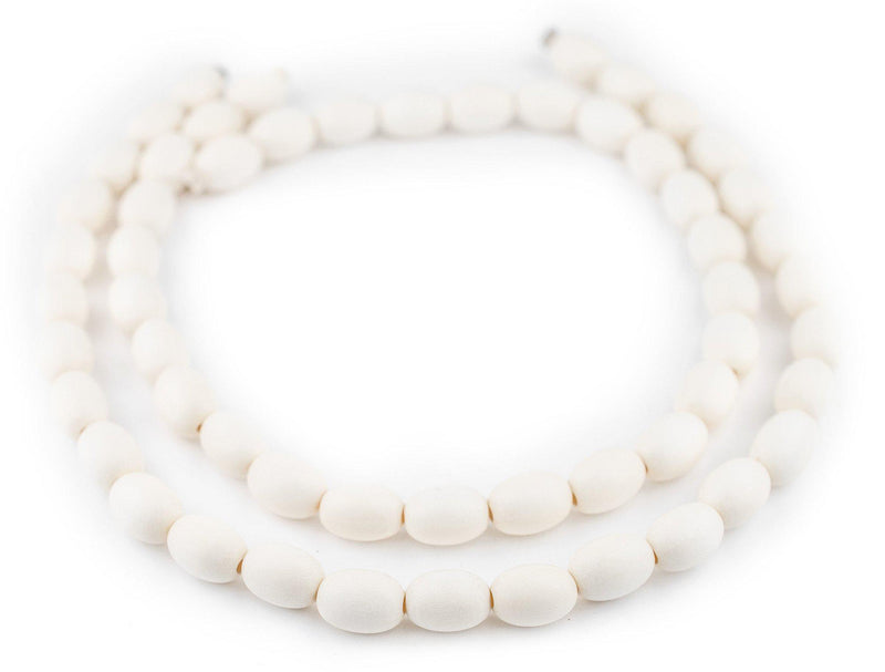 White Oval Natural Wood Beads (15x10mm) - The Bead Chest