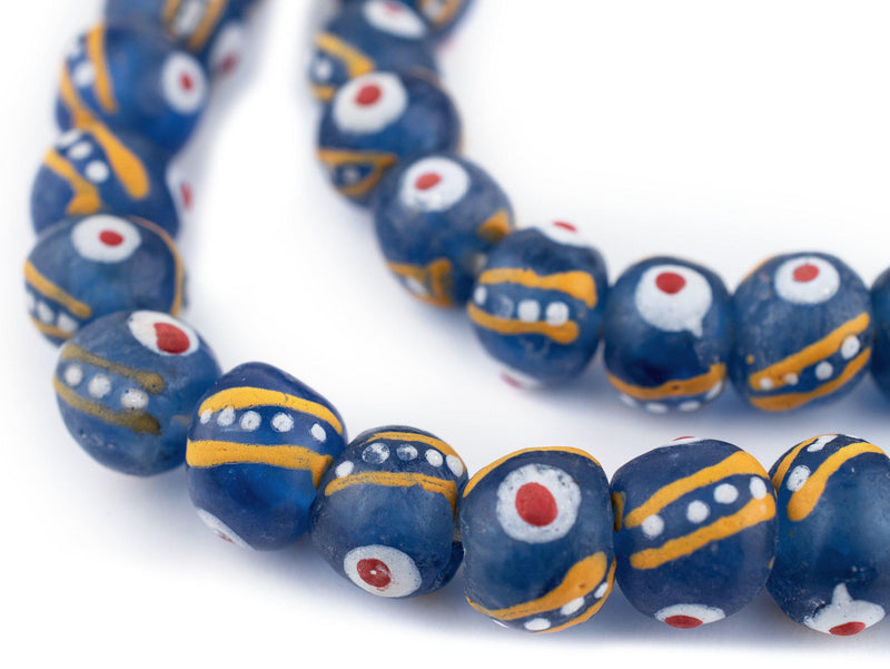 Venetian-Style Painted Blue Recycled Glass Beads (14mm)