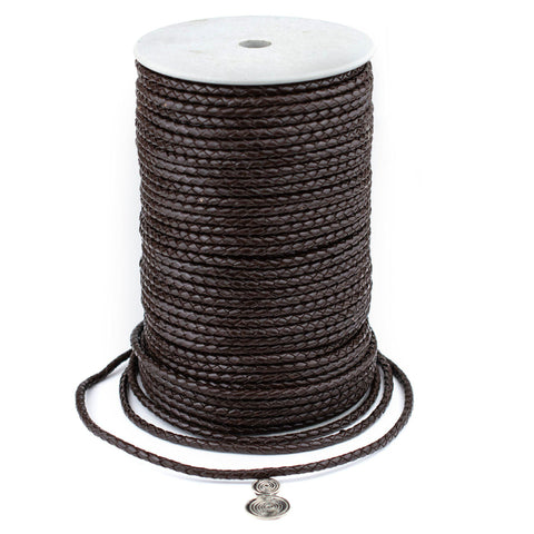 4.0mm Dark Brown Round Braided Bolo Leather Cord (3ft)