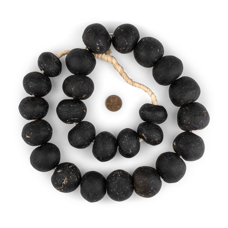 Super Jumbo Blackened Brown Recycled Glass Beads (34mm) - The Bead Chest