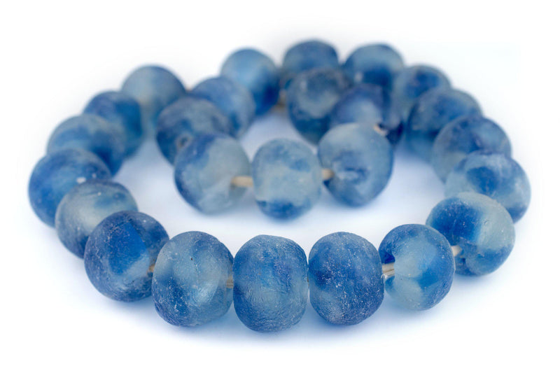 Super Jumbo Blue Swirl Recycled Glass Beads (34mm) - The Bead Chest