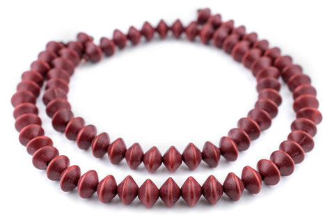 Cherry Red Bicone Natural Wood Beads (10x15mm) - The Bead Chest