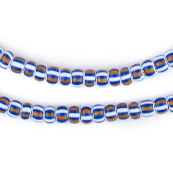 Blue White & Brown Striped Ghana Chevron Beads (6mm) - The Bead Chest