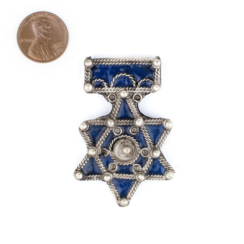Image of Authentic Jewish Berber Enamel Pendant (56x37mm) - The Bead Chest