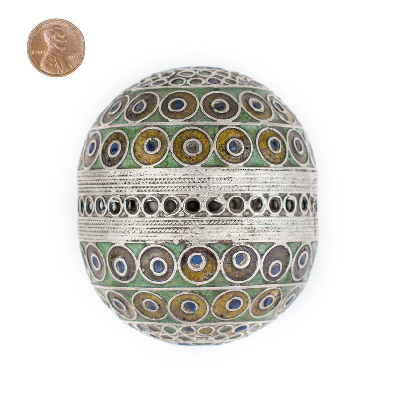 Enormous Multicolor Enameled Berber Pendant - The Bead Chest