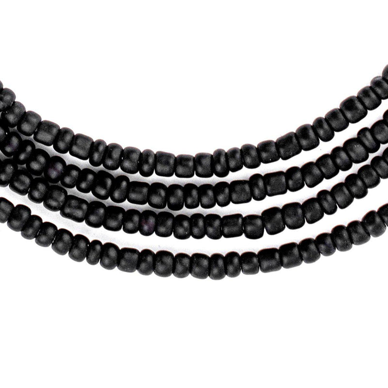Matte Black Ghana Seed Beads - The Bead Chest
