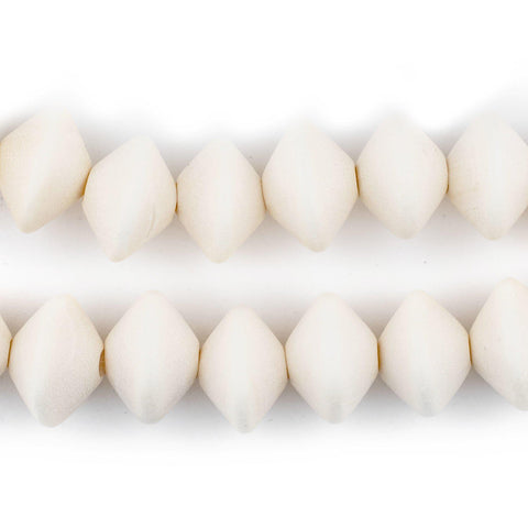 White Bicone Natural Wood Beads (10x15mm) - The Bead Chest