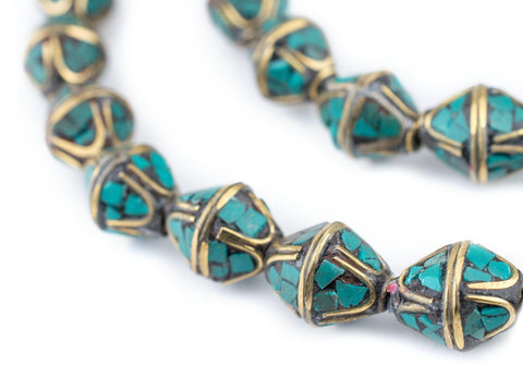 Turquoise Bicone Inlaid Nepali Brass Beads (14x11mm) - The Bead Chest