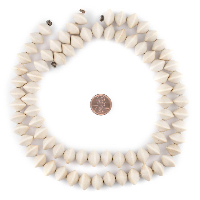 Cream Bicone Natural Wood Beads (10x15mm) - The Bead Chest