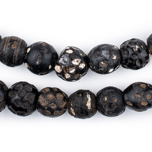 Antique Black Venetian Skunk Eye Beads