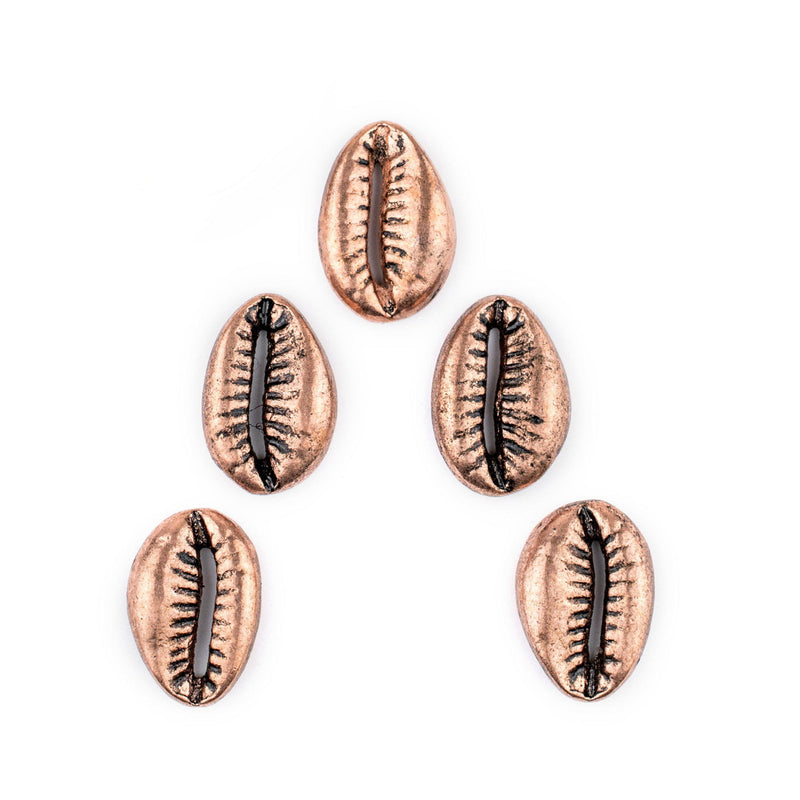 Antiqued Copper Cowrie Shell Beads (Set of 5) - The Bead Chest