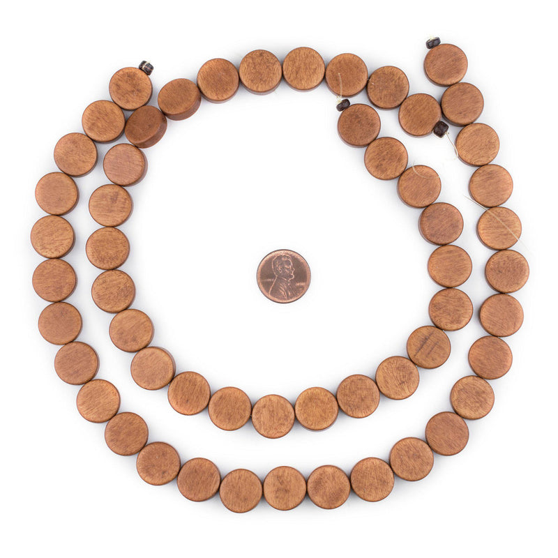 Light Brown Circular Natural Wood Beads (15x15mm) - The Bead Chest
