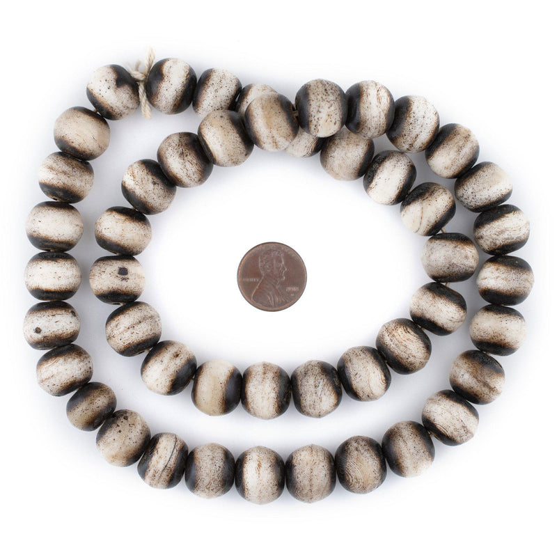 Grey Round Bone Beads (16mm)