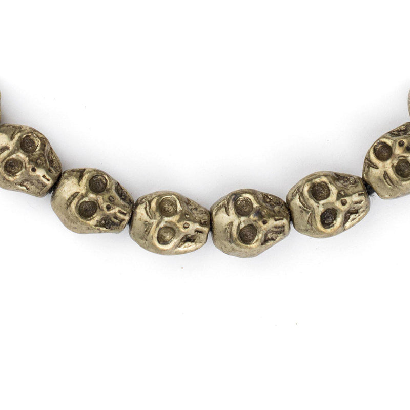 Solid Brass Skull Beads (12mm) - The Bead Chest