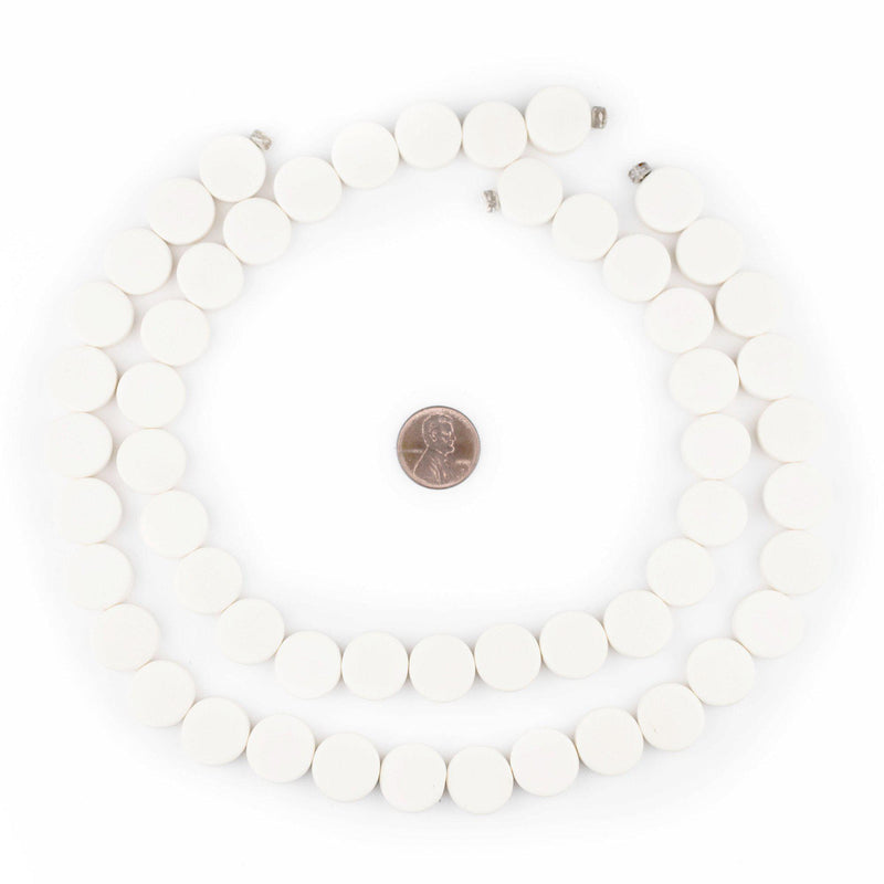 White Circular Natural Wood Beads (15x15mm) - The Bead Chest