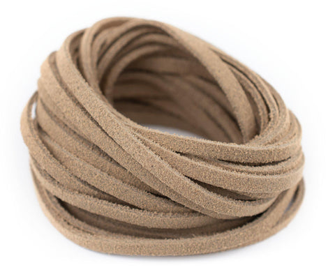 3.0mm Beige Flat Suede Leather Cord (15ft)