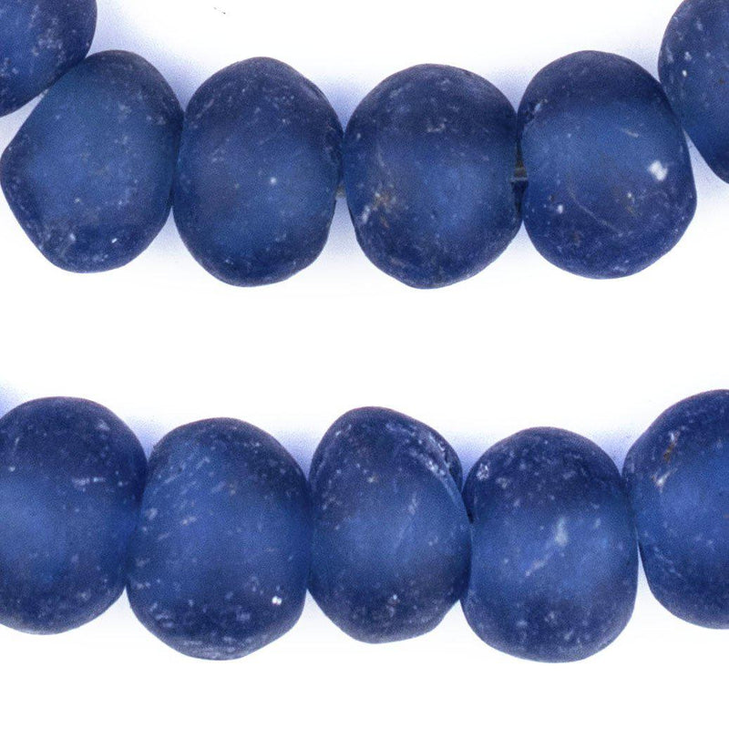 Blue Recycled Glass Beads (22mm) - The Bead Chest