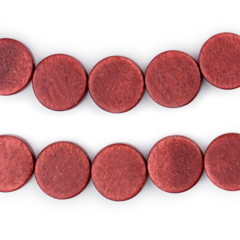 Cherry Red Circular Natural Wood Beads (15x15mm) - The Bead Chest