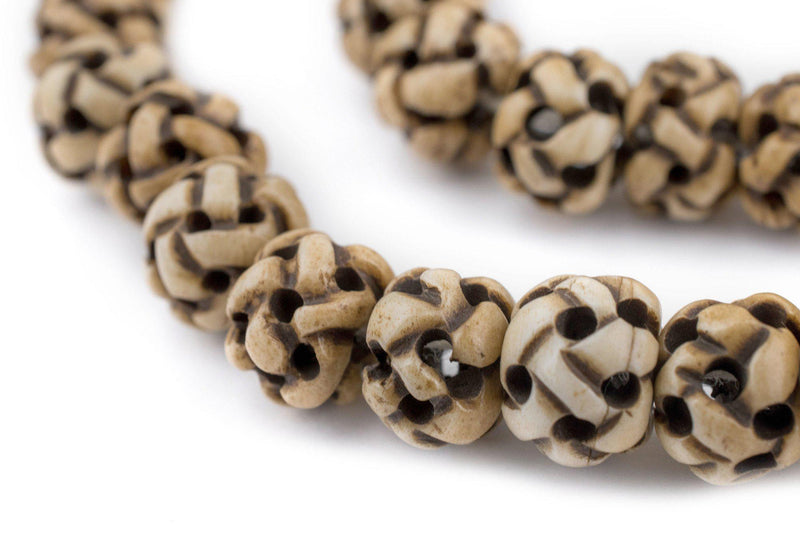 Rustic Woven Carved Bone Mala Prayer Beads (10mm) - The Bead Chest