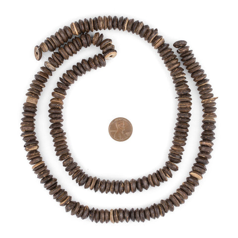 Image of Dark Coconut Wood Disk Beads (11mm) - The Bead Chest
