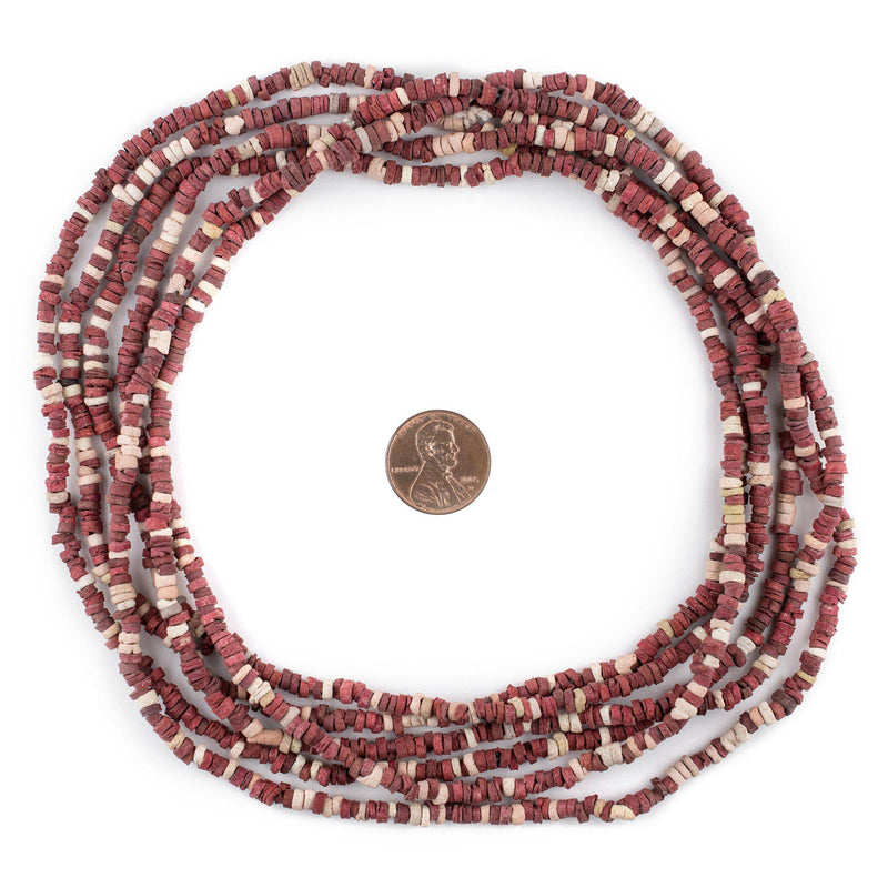 Crimson & White Pharaonic Pottery Beads - The Bead Chest