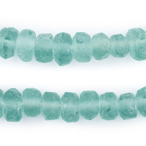 Clear Marine Rondelle Java Recycled Glass Beads (11mm) - The Bead Chest