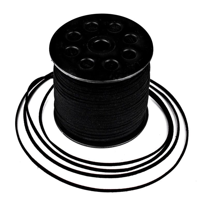 3mm Flat Black Faux Suede Cord (300ft) - The Bead Chest