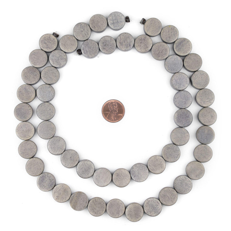 Grey Circular Natural Wood Beads (15x15mm) - The Bead Chest
