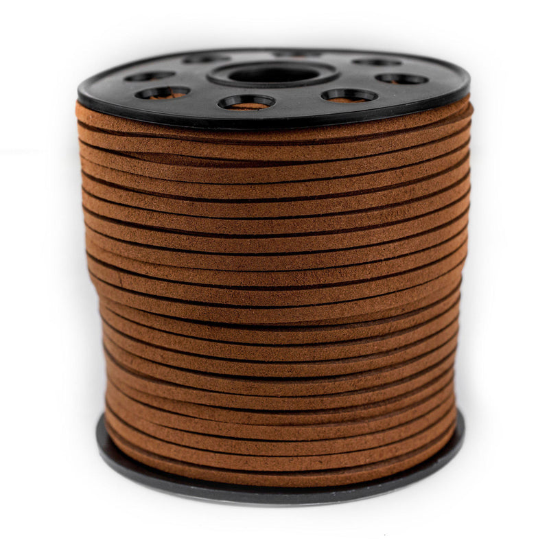 3mm Flat Tan Brown Faux Suede Cord (300ft) - The Bead Chest