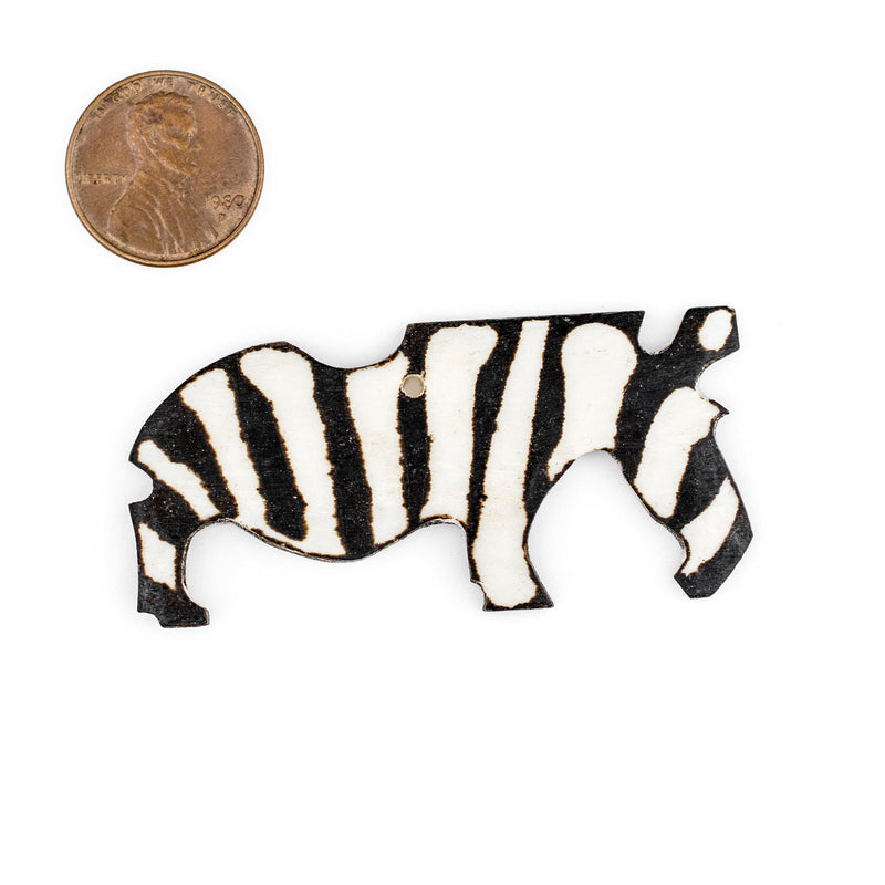 Grazing Zebra Bone Batik Pendant - The Bead Chest