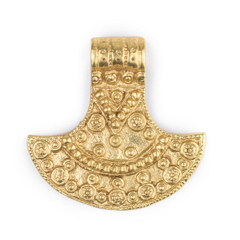 Brass Patterned Shield Pendant (50x50mm)