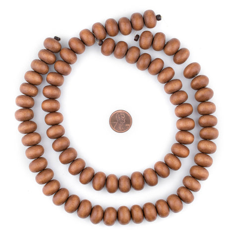 Image of Light Brown Abacus Natural Wood Beads (10x15mm) - The Bead Chest