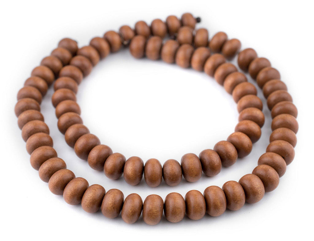 Light Brown Abacus Natural Wood Beads (10x15mm) - The Bead Chest