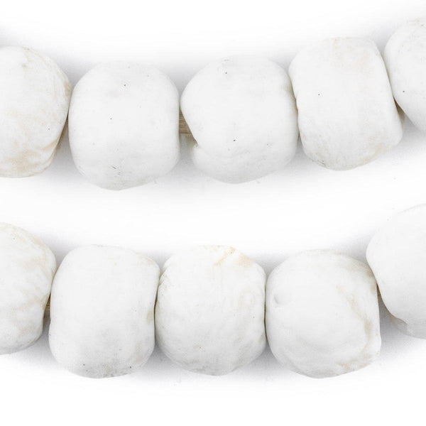 Opaque White Recycled Glass Beads (18mm) - The Bead Chest