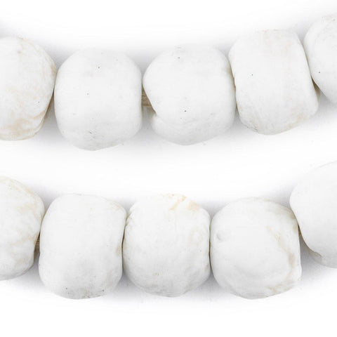 Image of Opaque White Recycled Glass Beads (18mm) - The Bead Chest