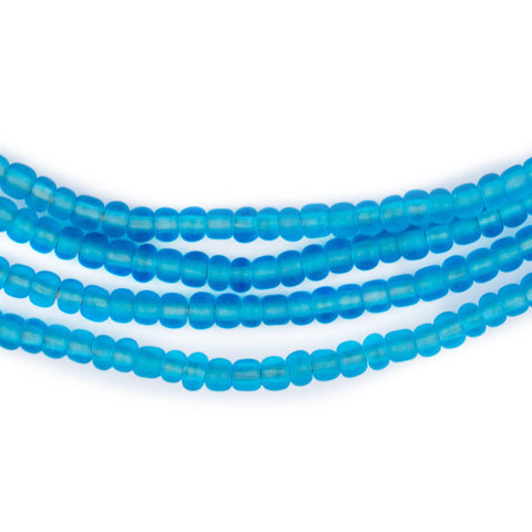 Matte Translucent Sea Blue Ghana Glass Seed Beads (4mm) - The Bead Chest