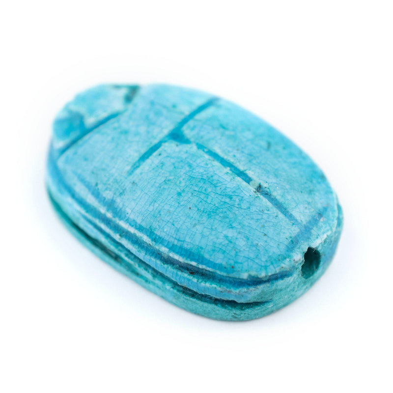 Turquoise Egyptian Scarab Pendant (35x24mm) - The Bead Chest
