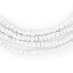 White Ghana Glass Beads (4mm) - The Bead Chest