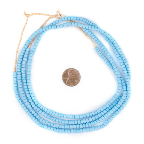 Light Turquoise Ghana Glass Beads (2 Strands) - The Bead Chest