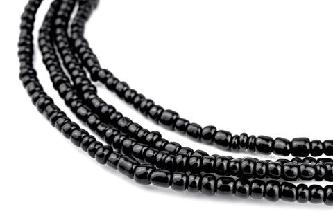 Black Ghana Glass Beads (2 Strands) - The Bead Chest