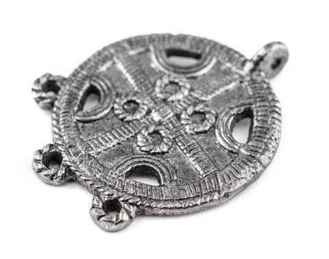 Silver Circular Cross Tribal Baule Connector Pendant (39x50mm) - The Bead Chest