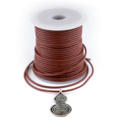 2.0mm Brown Round Leather Cord (75ft)