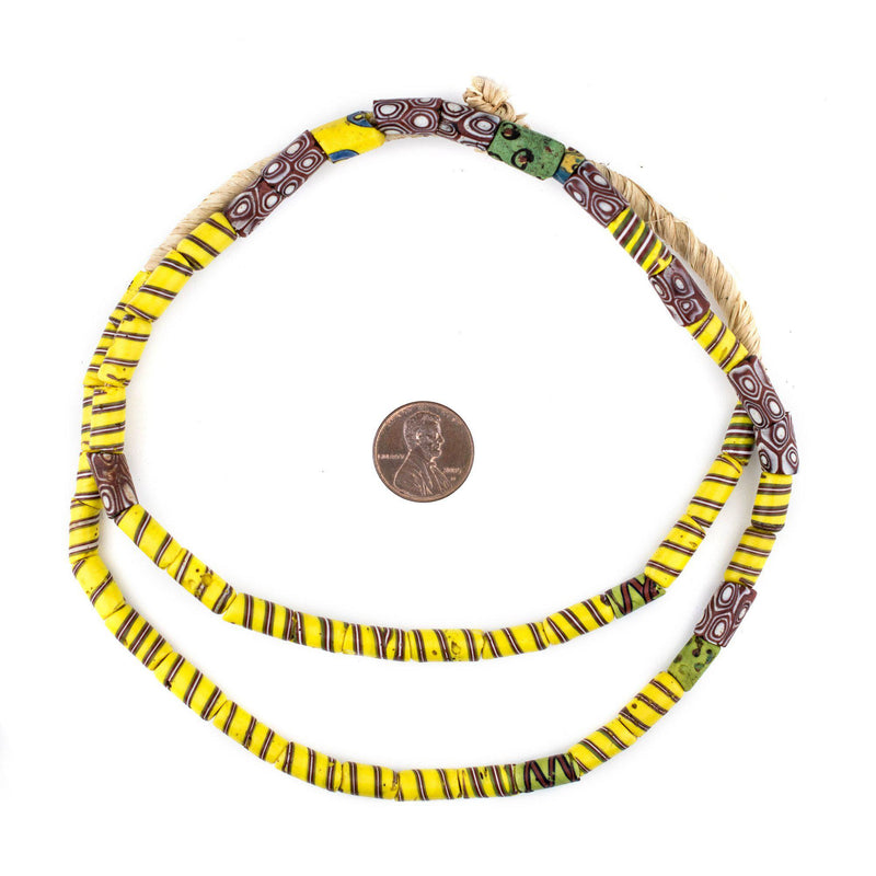 Antique Yellow Spiral Venetian Trade Beads (6mm) - The Bead Chest