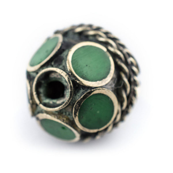 Emerald-Inlaid Afghan Tribal Silver Bead (16mm)