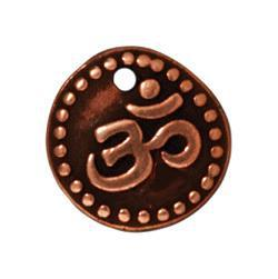 Antiqued Copper Om Coin Charm (11x11mm)