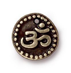 Antiqued Brass Om Coin Charm (11x11mm)
