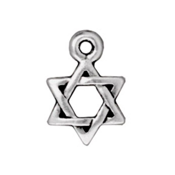 Antiqued Silver Star of David Charm (12x9mm)