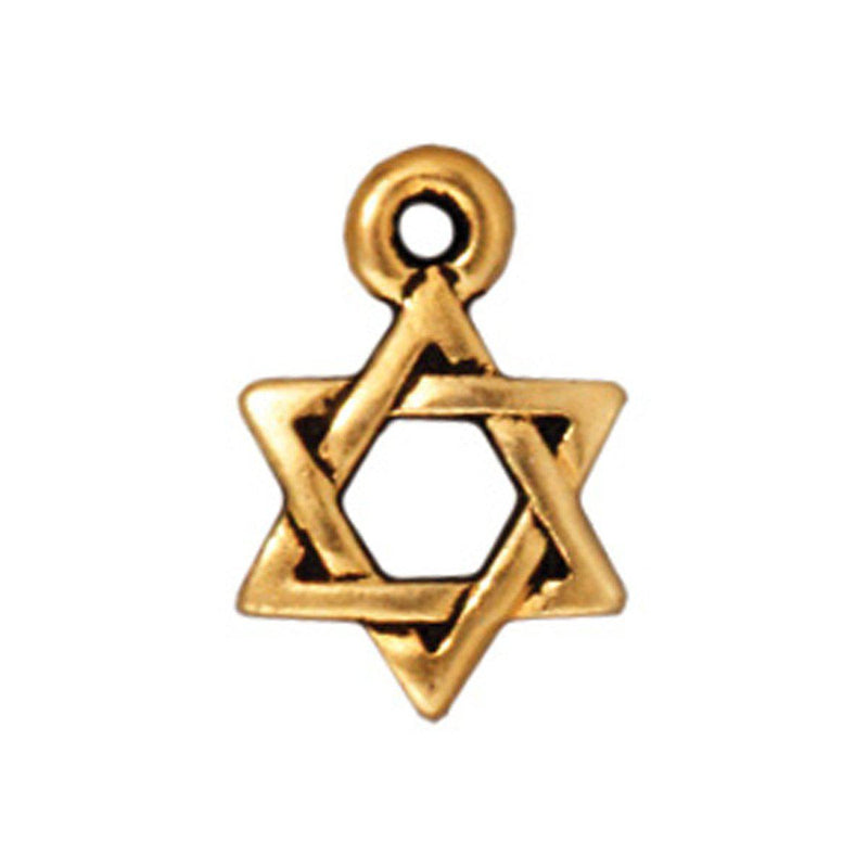 Antiqued Gold Star of David Charm (12x9mm)