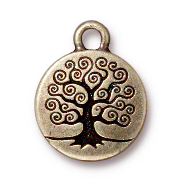 Antiqued Brass Tree of Life Charm (19x16mm)